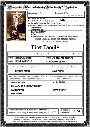 Sample application form for a Purgatorian Archconfraternity family membership, filled in with the sample data above